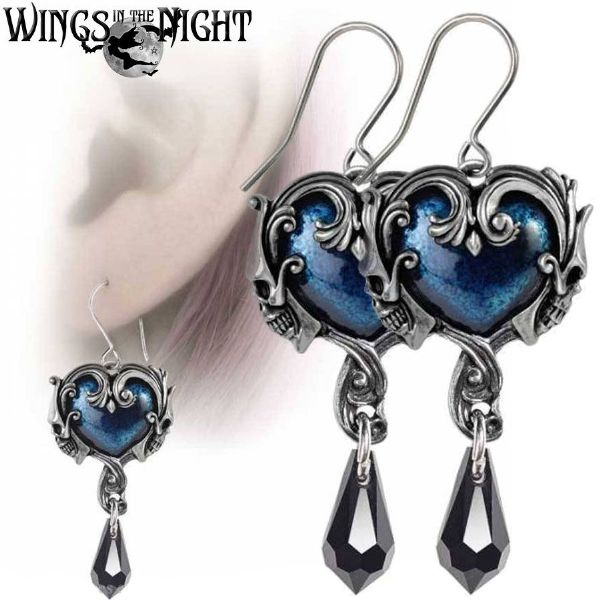 ALCHEMY GOTHIC Affaire du Coeur Blue Heart Goth Earrings